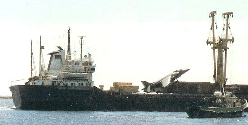 El 'Alraigo' y su insólito 'huésped', en el puerto tinerfeño durante la larga espera de las negociaciones para la recompensa.