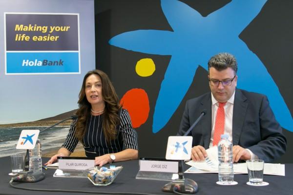 Pilar Quiroga, directora de Área de Negocio de CaixaBank en Tenerife Oeste, y Jorge Diz,, director de Banca Retail de CaixaBank en Canarias.